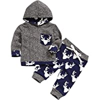 Newborn Baby Boy Deer Head Print Clothes Set Infant Top + Pants Toddler Hoodies Outfit Set