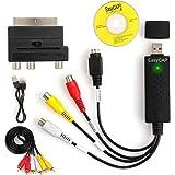 AUTOUTLET USB 2.0 Audio Video Grabber | w zestawie zestaw akcesoriów Scart do RCA/S-Video Adapter RCA do RCA | VHS - adapter