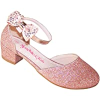 Scarpe da festa con tacco basso e glitter in oro rosa