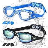COOLOO Simglasögon, 2-pack, simglasögon för vuxna män kvinnor ungdomar barn med anti-dimma, vattentäta, skyddslinser