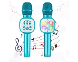 Karaoke Microphone,ZealSound 4 in 1 Wireless Bluetooth Microphone,Dancing Color LED Lights Portable Kids Speaker Music Player