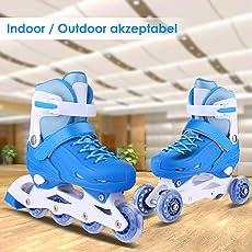 AMDirect Rollschuhe Mädchen Verstellbar Größe Inline Skates Kinder Weiche Atmungsaktive Rollerblades für Kinder/Jugendliche (Zwei Modi schaltbar: Inline-Skates/Rollschuhe)