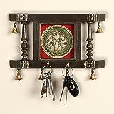 ExclusiveLane Brass People On Teak Wood Warli Handpainted Home Decorative Keychain Holder Key Hangers Key Stand for Home & Wa