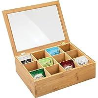 mDesign boîte à thé en Bois – boîte de Rangement pour sachets de thé avec 12 Compartiments – Coffre thé Pratique avec…