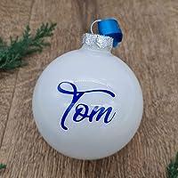 Wunschname auf einer weißen Weihnachtskugel aus Glas | Christbaumkugel | Weihnachtskugel Personalisiert…