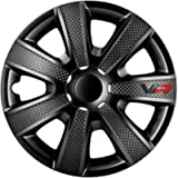 AutoStyle 8050VRB Wheel Cover, Black/Carbon-Look/Logo, 13-inch