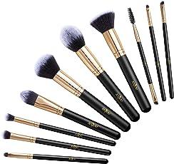 Make-up Pinselset, Anjou 10 Stück Kosmetikpinsel für Foundation, Anmischen, Rouge, Concealer, Lidschatten, Tierversuchsfreie Kunstfaserborsten, Goldener Klemmring & Holzgriff