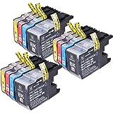 12 LC-1220 / LC-1240 / LC-1280 cartouches d'encre compatibles pour Brother MFC-J280W MFC-J425W MFC-J430W MFC-J435W MFC-J5910DW MFC-J625DW MFC-J6510DW MFC-J6710DW MFC-J6910DW MFC-J825DW MFC-J835DW DCP-J525W DCP-J725DW DCP-J925DW. 3x noir, 3x Cyan, 3x Magenta et 3x jaune