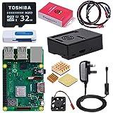 DINOKA Raspberry Pi 3 Modello B+ (Plus) Starter Kit Barebone Madre con Toshiba Micro SD Card 32GB Class 10, Custodia e Power Supply 5V 2.5A con Interruttore