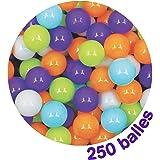 LUDI - Carton de 250 balles multicolores souples en plastique anti-écrasement. A partir de 6 mois. Balles à lancer, faire rou