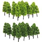 Modell tåg järnväg landskap träd 1: 200 paket med 20 st mörkgrön ljusgrön