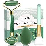 Rodillo de Jade, TURATA Facial Masaje Piedra Gua Sha Jade, Antienvejecedor Belleza Natural Dispositivo Herramienta, Rejuvenec