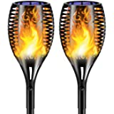 Lumières Solaire Flammes, Torche Solaire Flammes de Jardin LED Lampes Extérieur avec Dancing Flames Décor pour Jardin Patio C