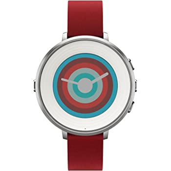 Pebble Time Round Smartwatch in cassa d'argento, cinturino in pelle, 20 mm, Argento/Rosso