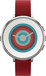 Pebble Time Round Smartwatch in cassa d'argento, cinturino in pelle, 20 mm, Argento/Rosso