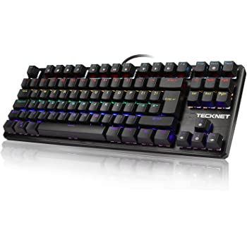 TeckNet Mechanical Keyboard 88 Keys Full Anti-ghosting Waterproof Gaming Keyboard Aluminum Metal Panel With Key Cap Puller for Gamers and Typists, UK Layout
