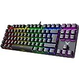 PICTEK Clavier Gamer Mécanique Clavier Gaming AZERTY Rétroéclairé Personnalisable- 87 Touches- Blue Switches- 100% Anti…