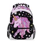 WYXM Backpack Cute Pink Purple Unicorn Stars Rucksack School Bag for Girls Boys Women Ideal Travel Day Shoulder Pack