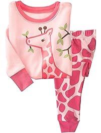 LitBud Pijamas de Las niñas pequeñas 100% algodón Jirafa Ropa de Dormir Pijama de Manga