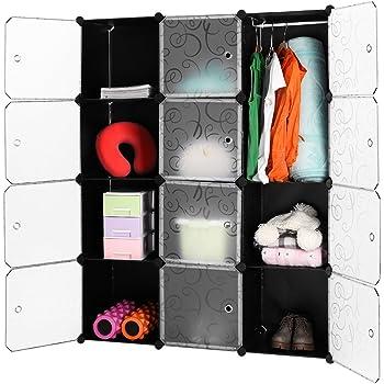 LANGRIA 12 Cubi Armadio Modulare, Scaffale Modulare, Armadio di Stoccaggio, per Abbigliamento ...