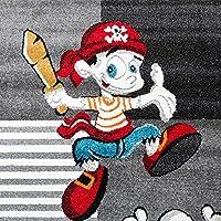 Alfombra Infantil De Pirata Con Papagayo Y Tesoro A Cuadros En Gris Antracita, Grösse:80x150 cm