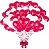 FORMIZON 60 Pezzi Palloncini Cuore Rosso Bianco, Palloncini a Forma di Cuore, Palloncini Matrimonio Cuore per Matrimoni, Anni
