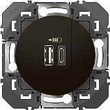 Legrand 095288 Double Chargeur USB Dooxie pour TypeA, Typec, 3A, Noir