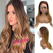 Human Hair Lace Front Wigs with Blonde Highlights for Women Medium Brown to Strawberry Blonde Highlighted Glueless Balayage