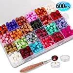 600PCS Sealing Wax Beads Packed in Plastic Box, with 2PCS Tea Candles and 1 PC Wax Melting Spoon for Wax Sealing Stamp