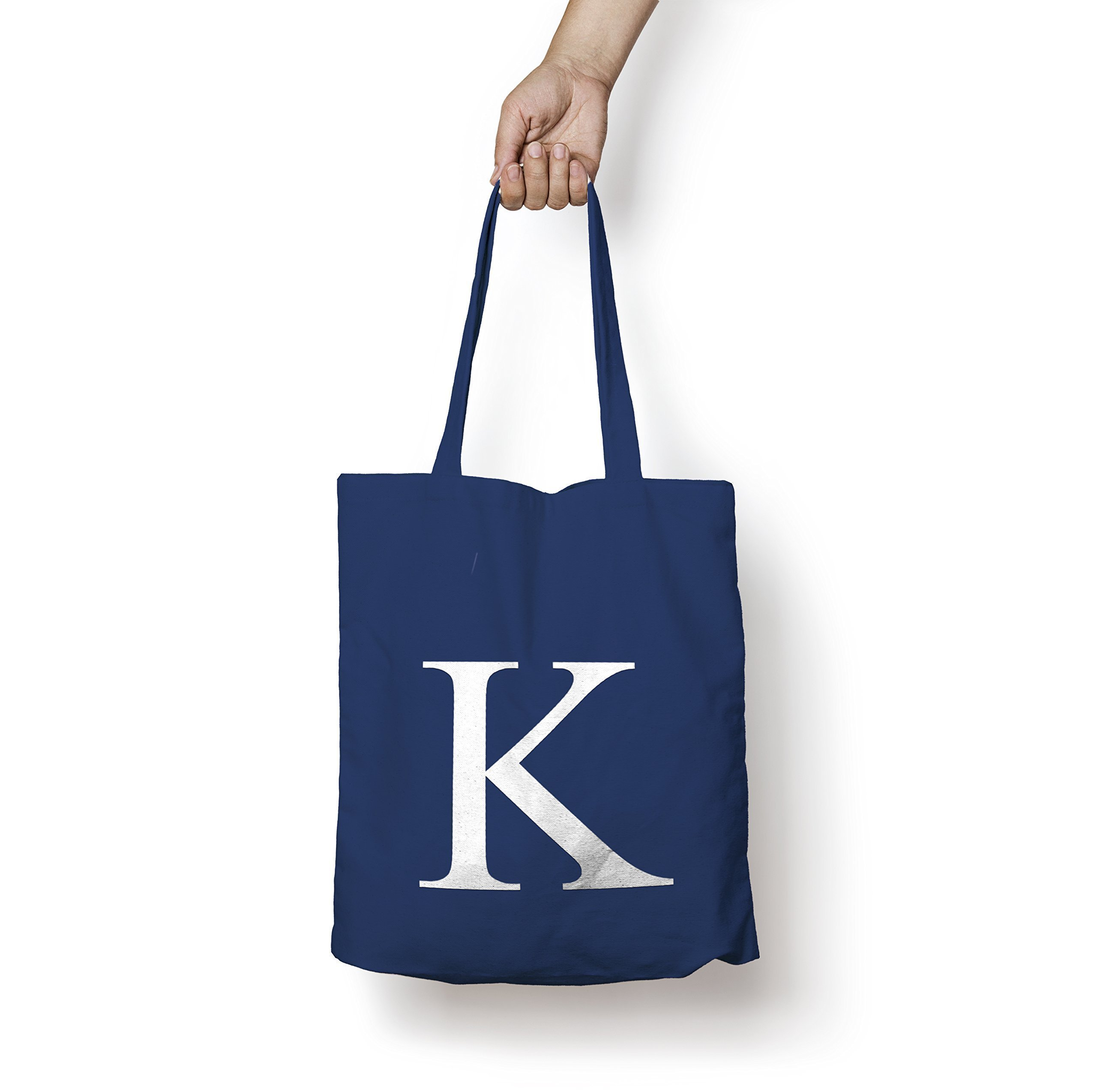 Personalised Tote Bag ANY LETTER Alphabet Printed Cotton Tote Shopper Bag - handmade-bags