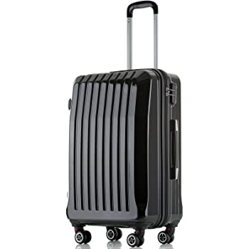 """Black 20"""" Hard Shell ABS Trolley Case 4 Spinner Wheels Suitcase Travel Luggage"""