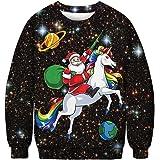 QKURT Unisex Christmas Jumpers 3D Printed Xmas Santa Sweatshirt Ugly Funny Long Sleeve Pullover Jumper for Men and Women