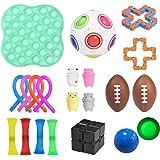 Sensory Fidget Toys set 21 stycken, med stressboll, stretchy sträng, sojabönpressning och minimesh-djur för barn och rädsla m