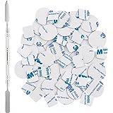 Allwon 56 stks metalen stickers voor magnetische palet lege oogschaduw make-up palet + depot spatel (28 stks ronde + 28 stks