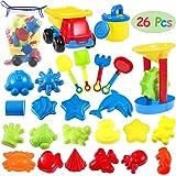 iBaseToy 26 Pieces Beach Sand Toys Set with Mesh Bag - Sandbox Toys Bath Toys for Toddlers, Kids Seaside Sand Castle Tool Kit
