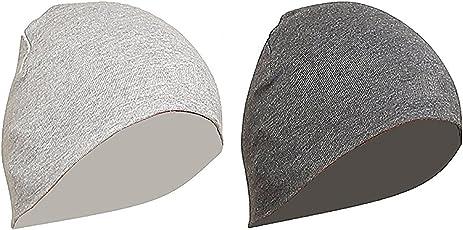 Gajraj Unisex Cotton Helmet Caps - Pack of 2 (Grey & Light Grey)