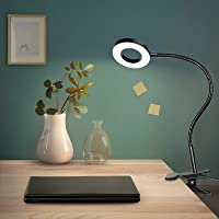 Anpro 48LED Lampe de Bureau avec Clip Lumineux ,3 Modes d'éclairage et 10 Niveaux de luminosité Lampe Pince de Lecture…