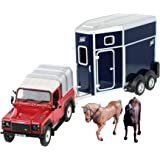 Britains Land Rover med hästsläp – 1:32 traktormodell med släpvagn och hästfigurer – för att spela och samla från 3 år – saml
