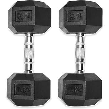 Kemket - Conjunto de pesas hexagonales de caucho que van de 10 a 20 kg -