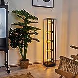 Lampadaire Wick en métal noir, luminaire rétro minimaliste idéal dans un salon vintage, avec interrupteur sur le câble, pour