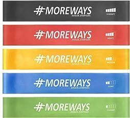 MOREWAYS Resistance Mini Loop Exercise Bands Set with Bag, Manual & Workout Guide Ebook