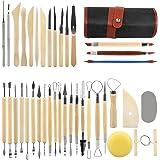 LinStyle 38 Pièces Outil en Céramique Set, Kit D'outils Poterie avec Sac de Rangement, Outils de Sculpture pour Le Modelage,