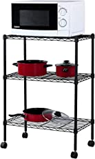 Callas 3/4/5-Tier Height Adjustable Shelving Unit Storage Rack with Wheels and Leveling Feet, Black …