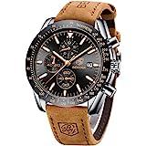BENYAR Orologio da Uomo Cronografo Analogico Movimento al Quarzo Cinturino in pelle Moda Business Sportivo orologio da polso