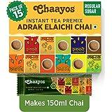 Chaayos Instant Tea Premix - Regular Sugar - Adrak Elaichi Flavour (15 Sachets) | Masala Tea Powder | Masala Chai | Premix Re