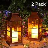 Linterna Solar Exterior Lámpara de Jardín, juego de 2, IP44 Impermeable Luces LED Parpadeantes Sin Llama Plástico Exterior De