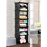 Oumffy DIY Plastic 10 Shelve Baby Wardrobe, Foldable, Collapsible Fabric Wardrobe Organizer for Clothes (10-Shelve-Double-Pla