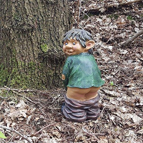 Gartenfigur Gnom Fidi mit nacktem Mors lustige Gartendeko Gnomi Deko-Figur Höhe 32 cm