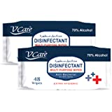 V Care Disinfectant Multi Purpose Anti Bacterial Wipes, 2 x 48 Wipes (Pack of 2)