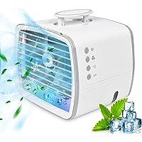 Mini Climatiseur Portable de 480 ml, 4 en 1 Ventilateur/Air Humidificateur/Conditionneur/7 Lumières LED, Ventilateur de…